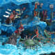 Diorama presenting the classic Chinese legend of the Eight Taoist Immortals crossing the Eastern Sea.