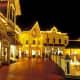 Downtown Mackinaw City, Michigan at night