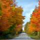 A beautiful drive in Washington Island during fall colors - Door County, Wisconsin