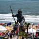 Virginia Beach Boardwalk Art Show in font of King Neptune in Virginia Beach, Virginia.