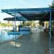 Shaded pool bar area.