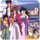 Kenshin as a wanderer with his new-found family