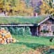Sod covered cottage at Little Norway in Fall