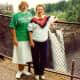 My niece took this picture of my mother and me with Snoqualmie Falls and the Salish Lodge in background