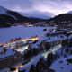 St. Moritz on a winter evening. The St. Moriz lake is frozen.