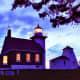 Door County lighthouse at dusk