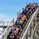 Riders on the Zippin Pippen Roller Coaster at Bay Beach Amusement Park - Green Bay, Wisconsin