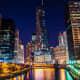 Along the Chicago Riverwalk at night