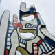 Closeup view of the monument by Jean Dubuffet in Discovery Green Park