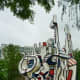 Another view of the sculpture by Jean Dubuffet in Discovery Green Park