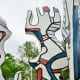 Closeup view of the sculpture by Jean Dubuffet in Discovery Green Park