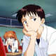 Shinji sitting in class. Huh, didn't notice Asuka behind him until now.