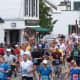 Runners heading through Lake Placid