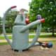 """Side view of """"Sock Monkey"""" sculpture by Joe Barrington in True South sculpture exhibit Houston"""