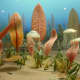 Diorama of life in the Ediacaran sea and the Smithsonian's Museum of Natural History.