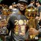 Lebron James winning the 2016 NBA Finals MVP and Championship.
