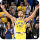 Stephen Curry celebrating after making a three-point shot.