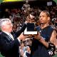 Allen Iverson receives the MVP Trophy.