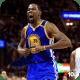 Kevin Durant celebrates after making a basket.