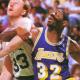 Magic Johnson competing against Larry Bird.