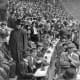 Press box at the 1912 World Series.  Over 70 years later I would sit behind the temporary press box at Yankee Stadium; it did not look that much different, except more typewriters.