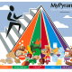 Since 2005, the USDA has employed this illustration for its MyPyramid campaign.