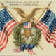 Free vintage post cards for Veterans Day: Two American flags and an American eagle