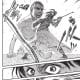 Sasha facing the Titan with a bow and arrows.