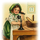 Free vintage St. Patrick's Day clip-art -- little girl in green dress talking on old fashioned stand-up telephone