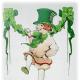 Little vintage boy in green top hat dancing, shamrock garland