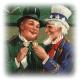 Uncle Sam and Irish gentleman toasting to St. Patrick's Day