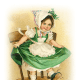 Free St. Patrick's Day clipart -- little girl in green dress dancing on a chair