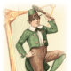 Vintage St. Patrick's Day clip art -- Irish lad dancing in front of harp with shamrocks