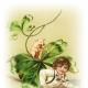 Little boy under shamrock with pig vintage St. Patrick's Day clip art