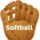 "Free softball clip art: softball glove and ""Softball"" text"