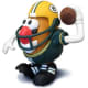 Mr. Potato Head wearing a Green Bay Packer helmet and uniform and holding a football