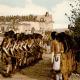 Hopi men performing snake dance during a celebration.