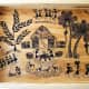 Wall Painting on wooden tray