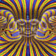 This optical illusion works by contrasting colours and shapes. Faces are included giving a double effect of moving lines and different perspectives for the middle and side faces