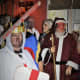 Father Christmas introduces King George to the play