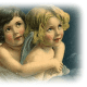 Free vintage Christmas angels on a cloud clip art