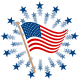 American flags: Waving flag on pole with circle of blue stars bursting in the background
