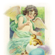 Vintage Easter clip art images: Vintage angel with Easter egg and baby chick