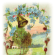 Free vintage Easter clip art images: Flowers and bell surrounding a country scene