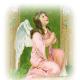 Vintage Easter images: kneeling Easter angel, praying