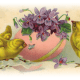 Vintage Easter images: three yellow baby chicks with pink Easter egg filled with lavender