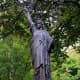 The rather small Statue of Liberty in the Jardin du Luxembourg - the very first bronze model of the famed American icon