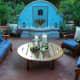 romantic blue water fountain, terracotta tile patio - ideal for a Mediterranean style garden