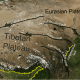 Location of main fault zones around Tibet and borders of India and China
