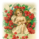 Free vintage cherub with red roses and bow and arrows Valentine's Day clip art